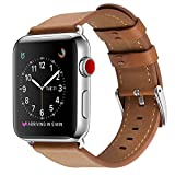 Compatible with Apple Watch Band, COVERY 42MM Watch Band Genuine Leather Strap Stainless Metal Buckle Compatible Apple Watch Series 3, Series 2, Series 1, Sport & Edition- Brown