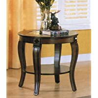 Riley Collection 00452 22 Round End Table with Center Glass Top Bottom Shelf Cabriole Legs Bentwood and Pine Wood Materials in Walnut Finish