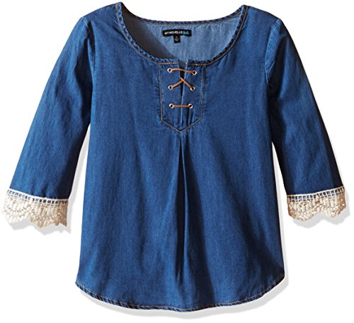 My Michelle Girls' Big Girls' Denim Chambray Blouse with Bell Sleeves with Crochet Trim and Tie up Front, Indigo, Small