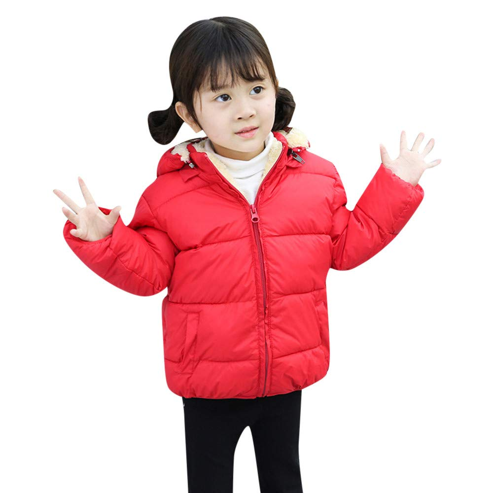 Tenworld B Kids Girl Boy Winter Hooded Coat Fleece Lined Jacket Thick Warm Outerwear Kids Outerwear