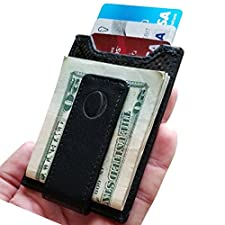 idclipz Slim Carbon Fiber Money Clip Wallet - Magnetic with a Secure Travel RFID Credit Card Holder