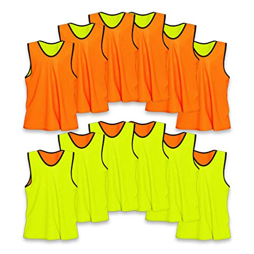 Lightweight Basketball Vest - Unlimited Potential Nylon Mesh Scrimmage Team Practice Vests Pinnies Jerseys Bibs for Children Youth Sports Basketball, Soccer, Football, Volleyball (12 Pack, Reversible Orange/Yellow, Youth)