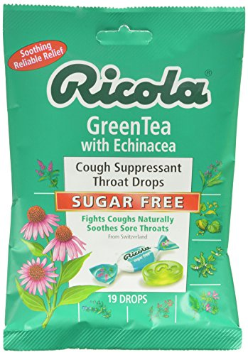 - Ricola Green Tea with Echinacea Cough Suppressant Throat Drops, Sugar Free, 19 Drops (Pack of 12), Fights Coughs Naturally, Soothes Throats