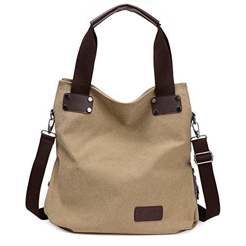 Wewod bolsa de hombro vintage/bolso bandolera tela lona/bolso al hombro para mujer 42 x 38 x 15 cm (L*H*W) Caqui