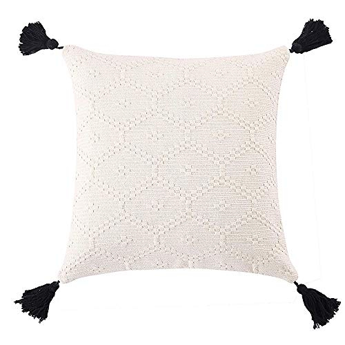 OJIA Tribal Pillow Cover Black and White Neutral Collection Throw Woven Cotton Tassel Cushion Case for Home, Party, Car, Office Outdoor Decoration (20 x 20 Inch, Cream White) (Black Tufted Bedding)