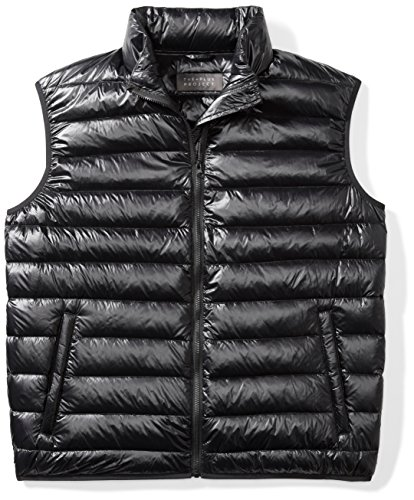 The Plus Project Men's Plus Size Quilted Down Vest with Stand Collar 3X-Large Black
