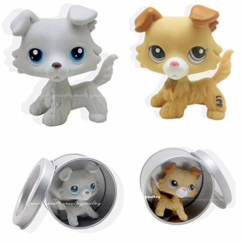 Funny Triplet Costume Ideas - tongrou 2pcs #363 #2452 Rare Littlest Pet Shop Collie Dog Puppy Blue Eyes LPS Toy