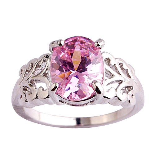 - Psiroy Women's 925 Sterling Silver Oval Cut Created Pink Topaz Filled Anniversary Ring Size 6