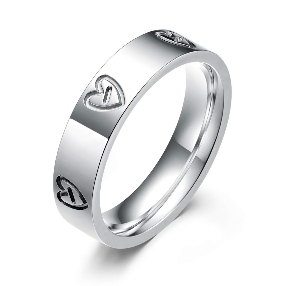 LULUCICI Promise Love Rings Titanium Stainless Steel Engagement Wedding Rings 4 mm Women Men Silver Rose Gold You are The Only One in My Heart Size 5 6 7 8 9 10