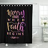 Breezat Shower Curtain Gospel Worry Ends When Faith Begins Bible Verse Hand Lettered Quote Modern Calligraphy Christian Waterproof Polyester Fabric 72 x 78 Inches Set with Hooks