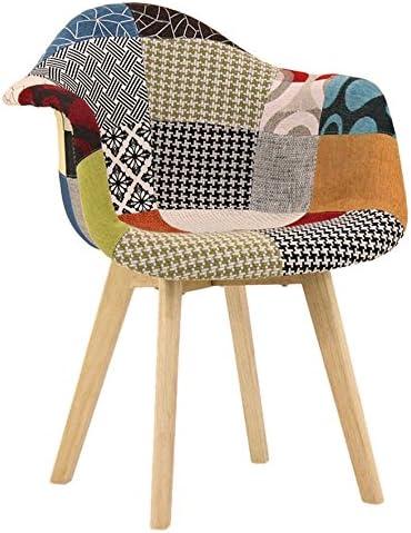 P&N Homewares Chaise en Tissu à Imprimé Patchwork avec Accoudoirs Design Scandinave Salle à Manger, Salon, Bureau Look Rétro & Tendance (1)