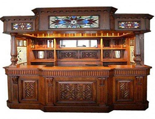Glass Canopy Pub Bar - Irish Fitzpatrick Solid Mahogany Tavern Home Pub Ireland Bar with Tiffany Glass Canopy
