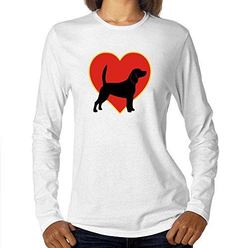 Eddany Beagle Heart Love Maglietta a Maniche Lunghe da Donna