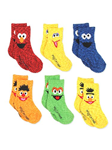 Sesame Street Elmo Boys Girls Multi Pack Crew Socks with Grippers (2T-3T, Bert Ernie 6 pk)