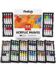 Acrylic Paint Set (64 Colors, 22 ml Tubes, 0.74 oz.) for Canvas, Crafts, Wood Painting - Rich Pigment, Non Fading, Vibrant Non Toxic Paints for Kids, Adults, Beginner & Professional Artists