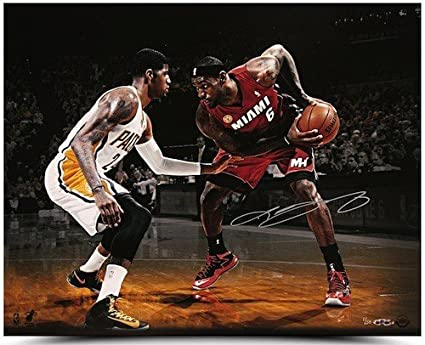 aca470057f55 Image Unavailable. Image not available for. Color  LEBRON JAMES AUTOGRAPHED  MATCH UP PHOTO VS. PAUL GEORGE ...