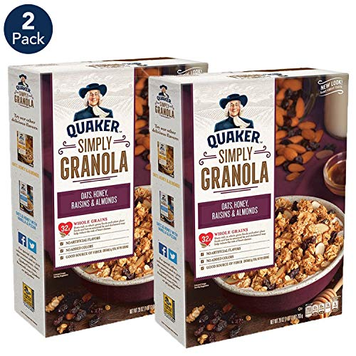 Quaker Simply Granola, Oats, Honey, Raisins and Almonds, 28 oz Boxes, (2 Pack)
