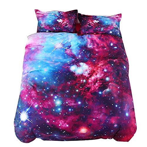 purple galaxy print bedding set