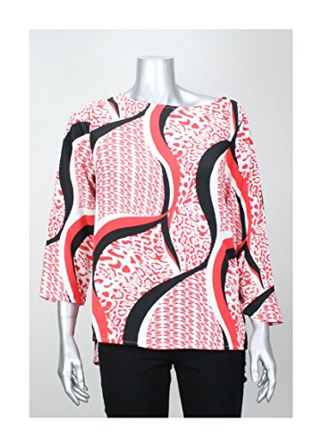 Ellen Tracy Women's Multi- Pattern Scoop Blouse (XS, Pepper Combo)