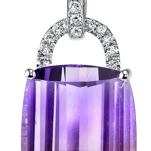 14 Karat White Gold Cushion Cut 11.00 carats Ametrine Diamond Pendant