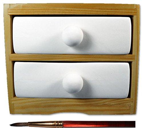 Wood Hampshire New - 2 Drawer Little Dresser and Paintbrush Set - Paint Your Own Ceramic Keepsake
