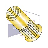 10-24-.225 Small Flange Ribbed Blind Threaded Inserts (Rivet Nut) | Steel | Zinc Yellow (QUANTITY: 1000)