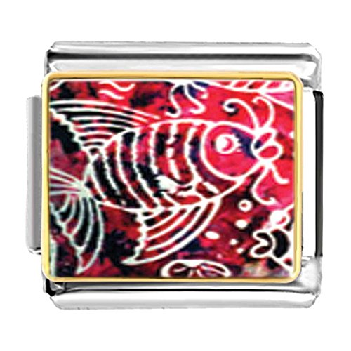 GiftJewelryShop Gold Plated Fish On Red Bracelet Link Photo Italian Charms