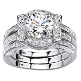 Platinum over Sterling Silver Round Cubic Zirconia Jacket Bridal Ring Set Size 7