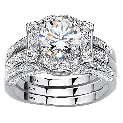 Platinum over Sterling Silver Round Cubic Zirconia Jacket Bridal Ring Set Size 5 by Palm Beach Jewelry
