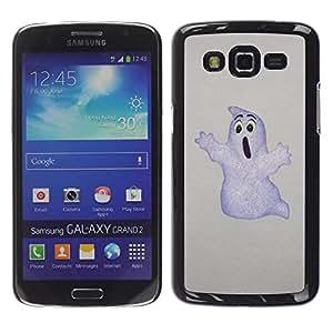 Caucho caso de Shell duro de la cubierta de accesorios de protección BY RAYDREAMMM - Samsung Galaxy Grand 2 SM-G7102 SM-G7105 - Ghost White Drawing Art Childrens Movie Cartoon