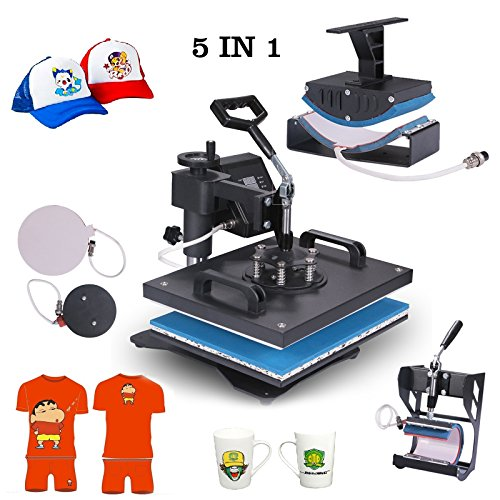 Superland Power Heat Press 5 in 1 Industrial-Quality 12-by-15-Inch Multifunctional Sublimation T-Shirt Hat Mug Heat Press Machine (5 in 1: 12