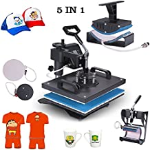 """Superland Power Heat Press 5 in 1 Industrial-Quality 12-by-15-Inch Multifunctional Sublimation T-Shirt Hat Mug Heat Press Machine (5 in 1: 12"""" x 15"""")"""
