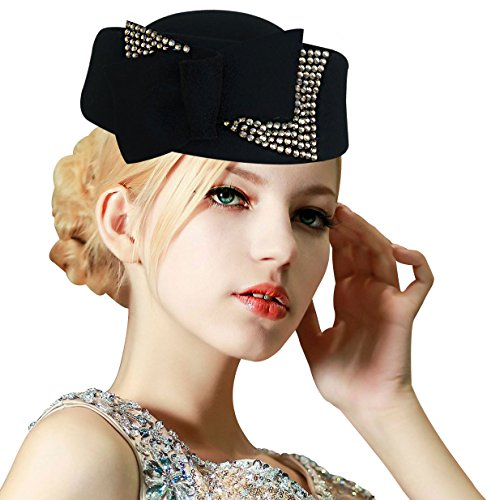 Ladies Rhinestone Teardrop Fancy Wool Fascinator Cocktail Pillbox Cap Hat A254 (Black)
