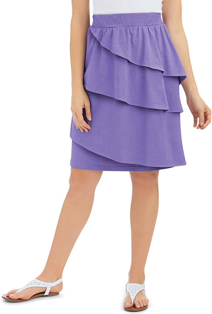 Collections Etc Cotton Ruffled Knee Length Skirt with Three Asymmetrical Tiers with Elastic Waistband