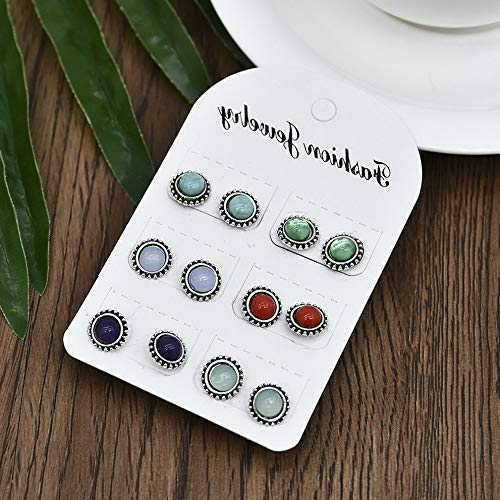 - Mikash 24Pair Women Fashion Rhinestone Crystal Pearl Ear Stud Earrings Set Jewelry Gift | Model JWRLBX - 387 | #11 6 Pairs/Set