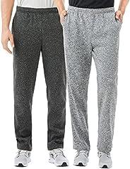 TEXFIT 2-Pack Men's Open Bottom Sweatpants with Side Pockets, Soft Fleece Jogging Pants (2pcs