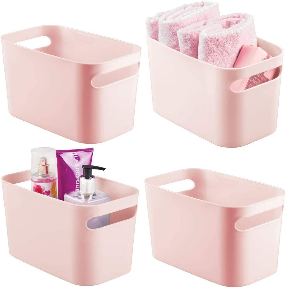 mDesign Deep Plastic Bathroom Vanity Storage Bin with Handles - Organizer for Hand Soap, Body Wash, Shampoo, Lotion, Conditioner, Hand Towel, Hair Brush, Mouthwash - 10 Inches, 4 Pack - Pink/Blush