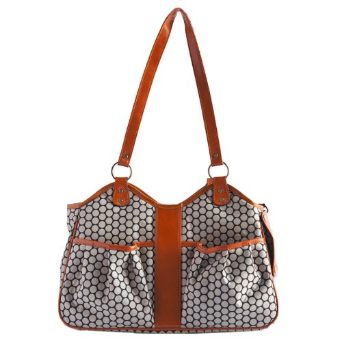 Petote Metro Couture Leather Trim Dog Carrier, Tangerine, Petite