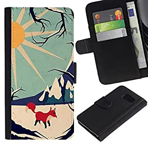 UberTech / Samsung Galaxy S6 SM-G920 / Arctic Fox Sun Stylish Winter Mountains / Cuero PU Delgado caso Billetera cubierta Shell Armor Funda Case Cover Wallet Credit Card