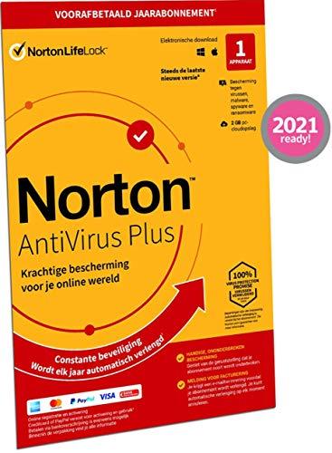 Norton Antivirus Plus 2021, antivirussoftware, internetbeveiliging, 1 Apparaat, 1 Jaar abonnement met automatische…
