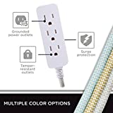 Cordinate Designer 3-Outlet Extension Cord with Surge Protection, Gray, Braided Décor Fabric Cord, 10 ft, Low-Profile Plug with Tamper Resistant Safety Outlets, 37914