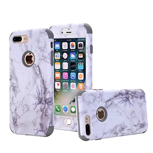 iPhone 7 Plus case, NOKEA [Marble Pattern] Three Layer Hybrid Heavy Duty Shockproof Protective Bumper Cover Soft Silicone Combo Hard PC Case for iPhone 7 Plus (Grey) (Iphone 4 Hybrid 3 Piece Case)