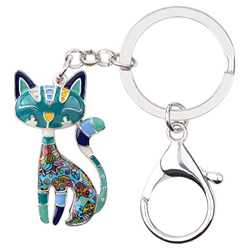 Bonsny Enamel Alloy Chain Cat Key Chains For Women Car Purse Handbag Charms (Blue) ()