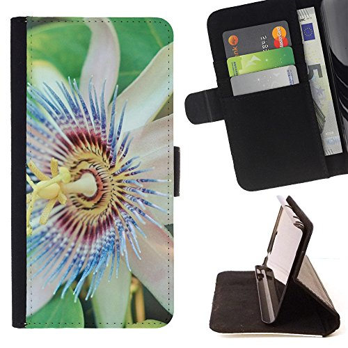 God Garden - FOR Apple Iphone 6 PLUS 5.5 - Passion Flower - Glitter Teal Purple Sparkling Watercolor Personalized Design Custom Style PU Leather Case Wallet Fli
