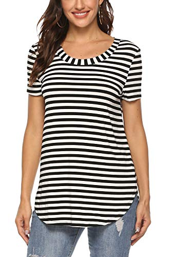 Zattcas Short Sleeve Shirts for Women Basic T-Shirt Casual Striped Blouse,Black - Black White Blouse