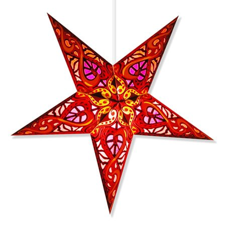 Celtic Red Paper Star Lamp, Star Lantern Star Light … (Celtic Red Star Lantern)