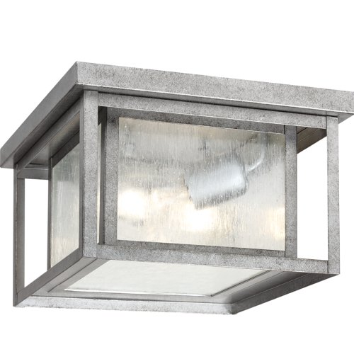 - Sea Gull Lighting 78027-57 Hunnington Two-Light Outdoor Ceiling Flush Mount Hanging Modern Light Fixture, Weathered Pewter Finish