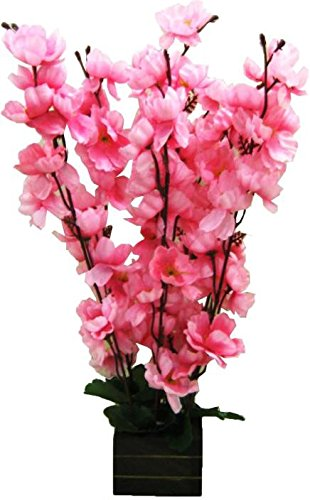 Buy Paradise Artificial Pink Color Flowers With Wooden Vase10 Inchs