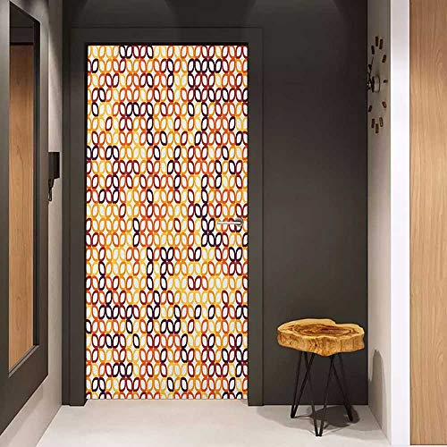 Onefzc Door Wallpaper Murals Geometric Complex Structured Geometric Petal Pattern with Colorful Chained Line Grid Print WallStickers W32 x H80 Multicolor ()