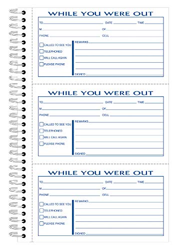 (Adams Phone Message Book, 8.5 x 5.25 Inch, Spiral Bound, 2-Part, Carbonless, 3 Messages per Page, 300 Sets, White and Canary (SC8603D))